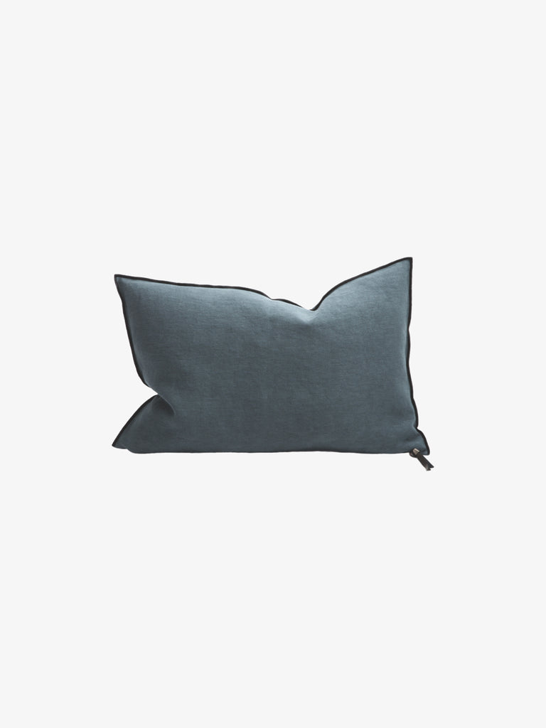 Stone Washed Linen Cushion in Canard (4 sizes avail)