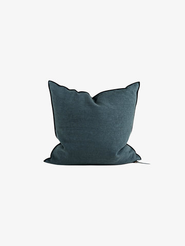 Stone Washed Linen Cushion in Encre (4 sizes avail)