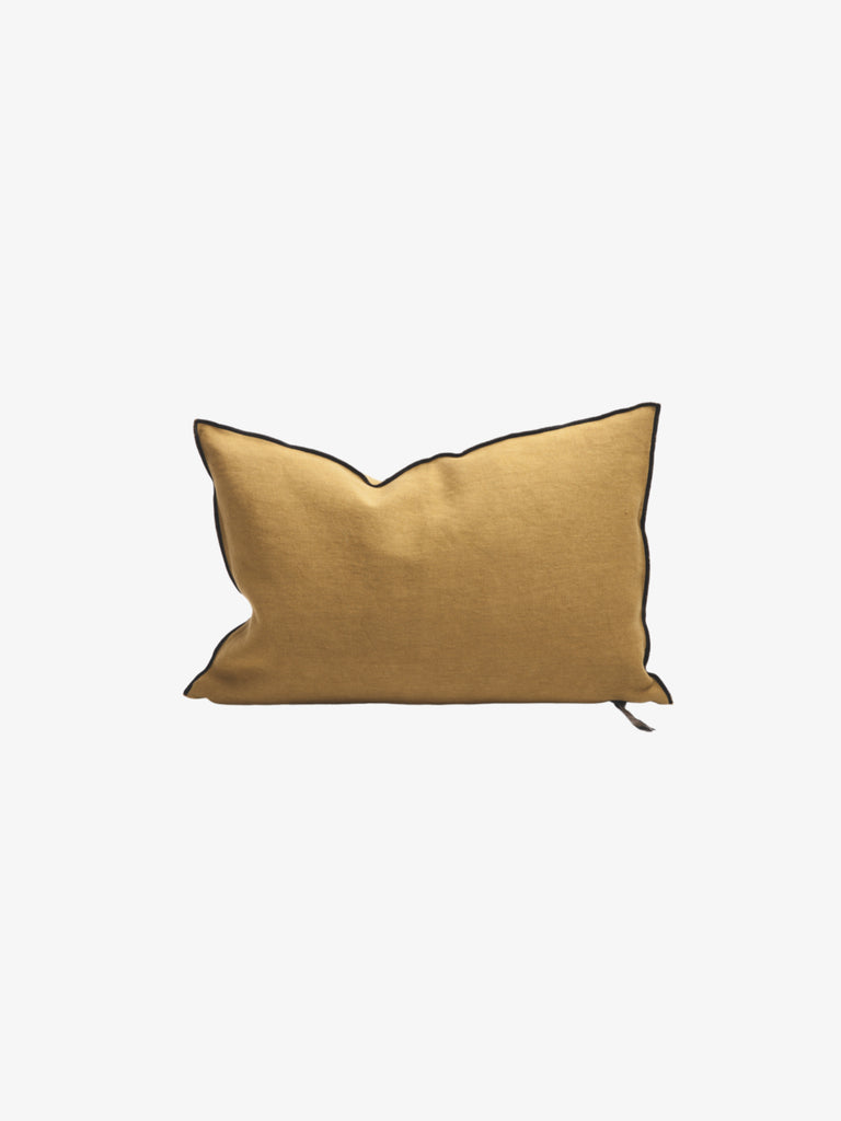 Stone Washed Linen Cushion in Ocre (3 sizes avail)