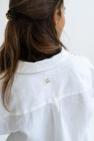 Linen Pyjama Shirt in White