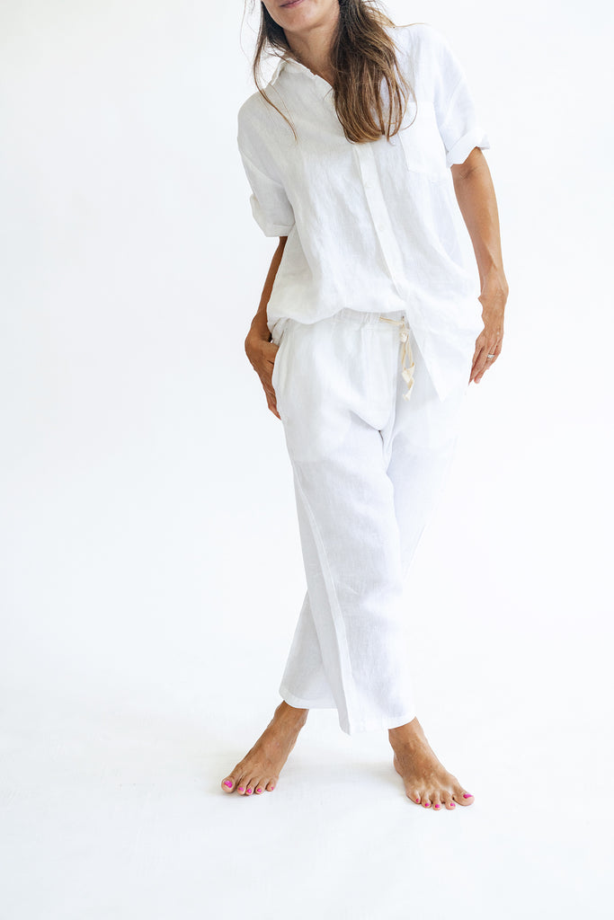 Linen Pyjama Trousers in White