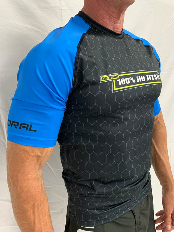 2021 Rash Guard Blue Short Sleeve Black Body