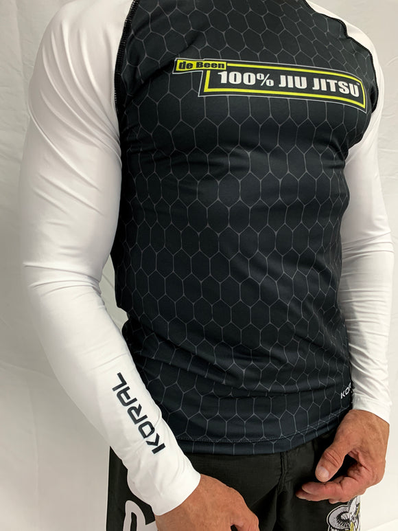2021 Rash Guard White Long Sleeve Black Body