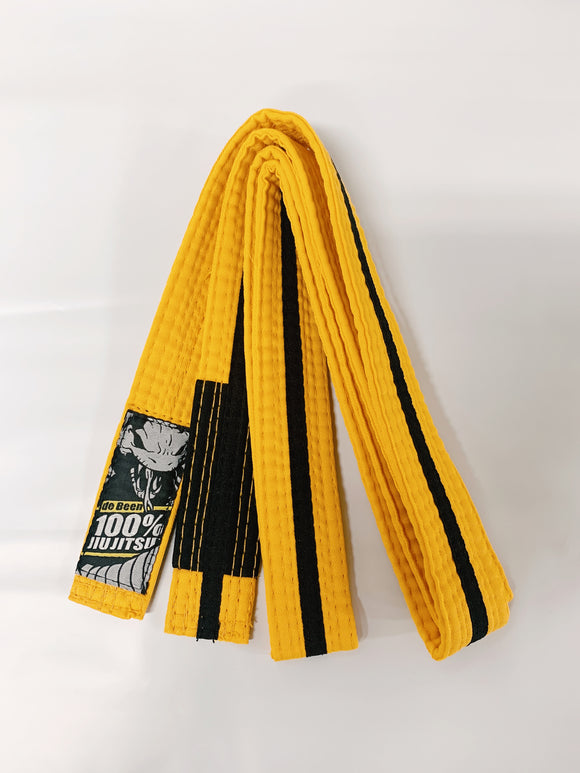 Belt Junior de Been Jiu Jitsu Yellow With Black Stripe Through
