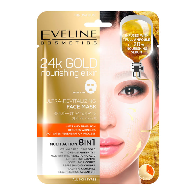Eveline Cosmetics 24K Gold Nourishing Elixir Ultra-Revitalising Face Mask - LSF Dermal Fillers