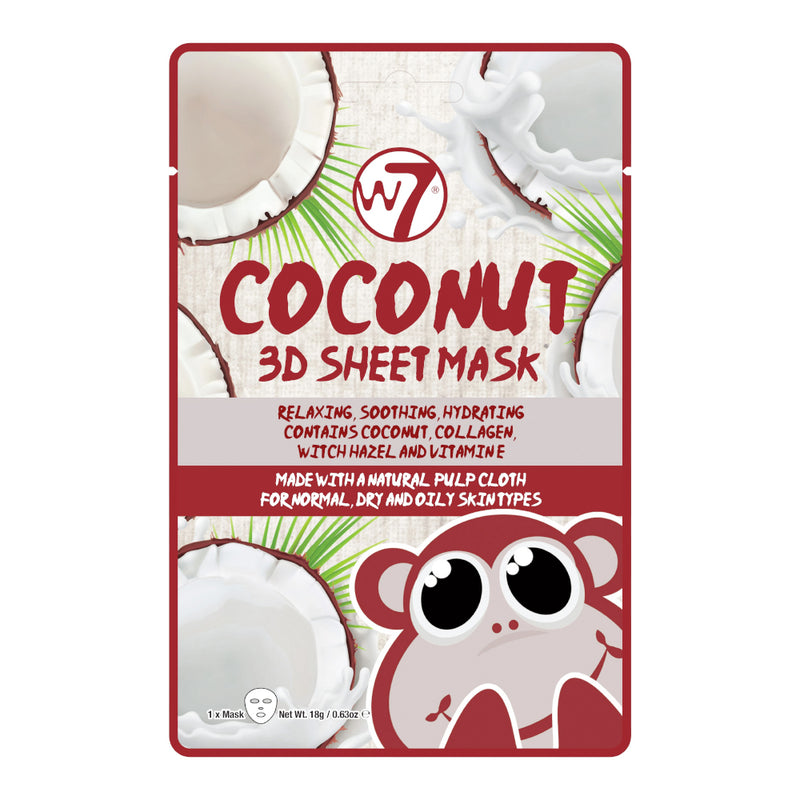 W7 Coconut 3D Sheet Mask - LSF Dermal Fillers
