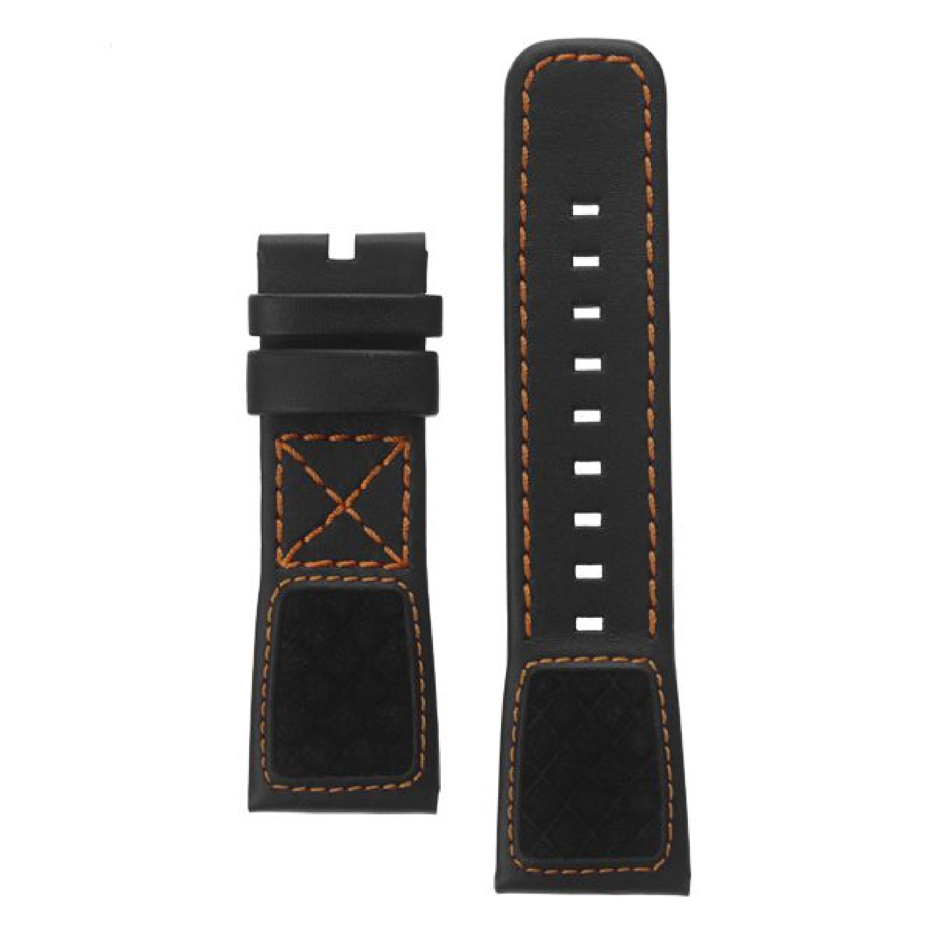 Leather strap black, orange stitching, special padding
