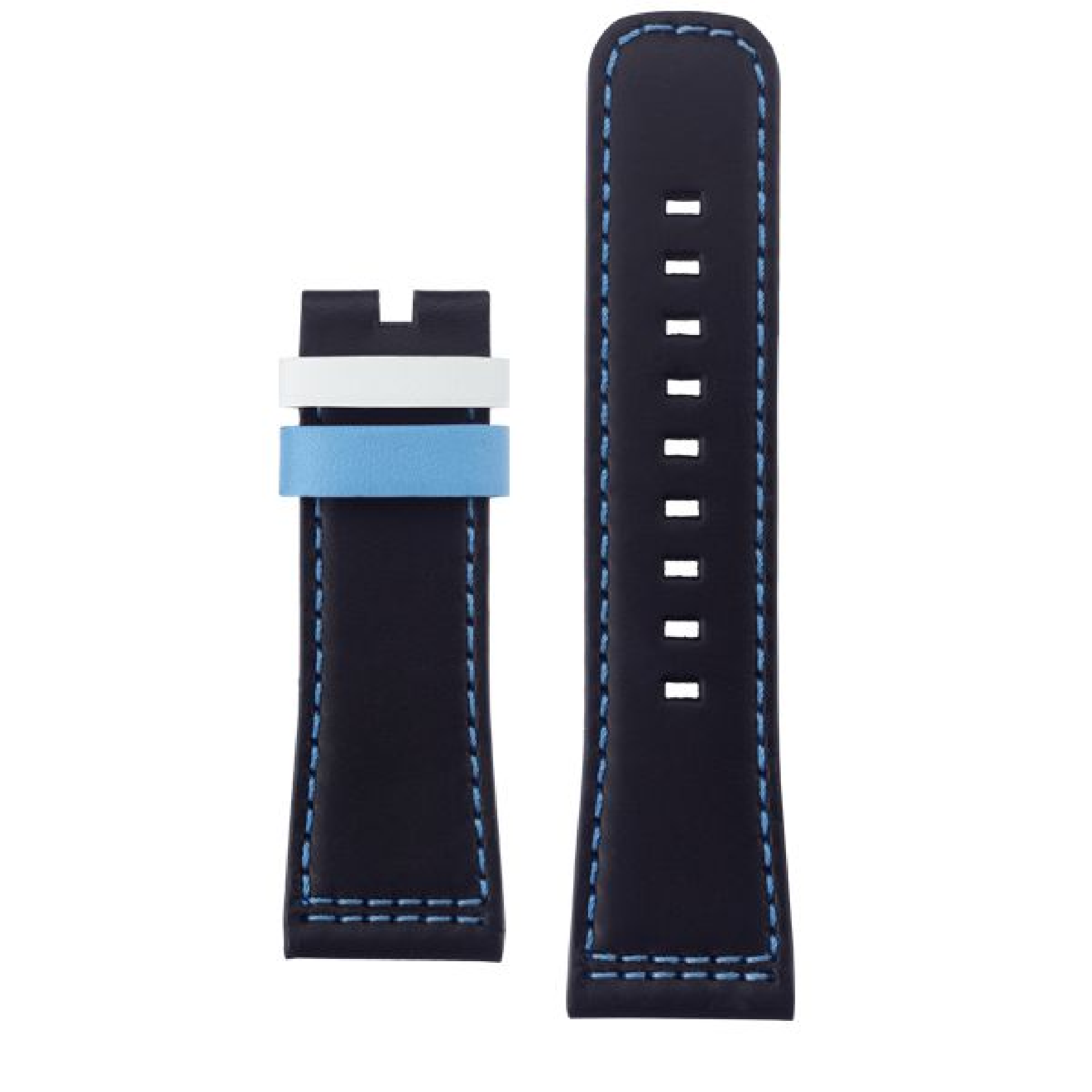 Leather strap black, blue stitching, light blue & white loop