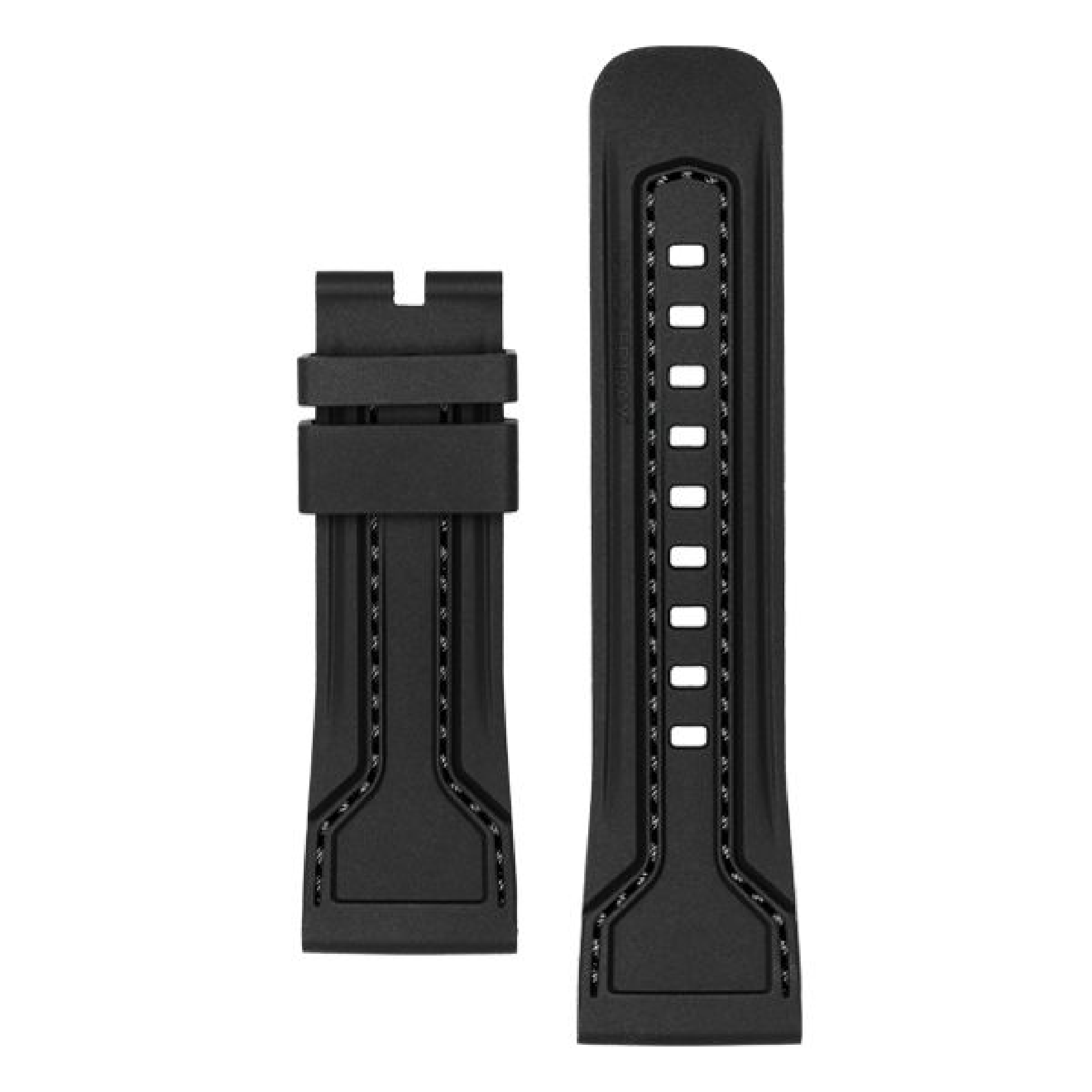 STRAP, Silicone, Black with Black stitching