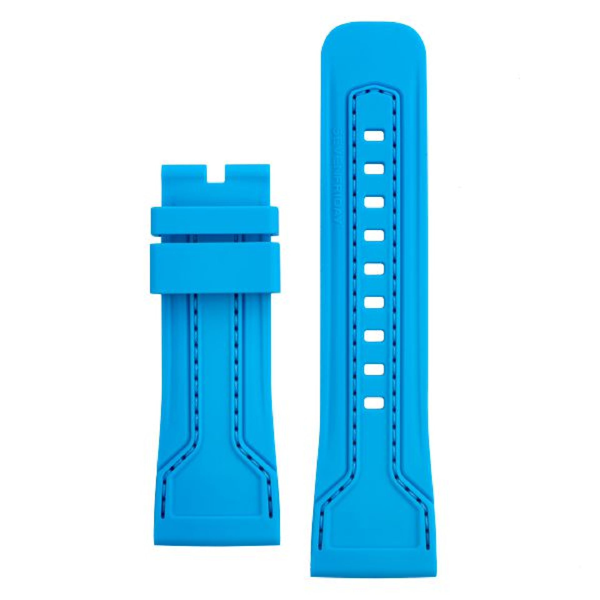 Rubber strap light blue, blue stitching