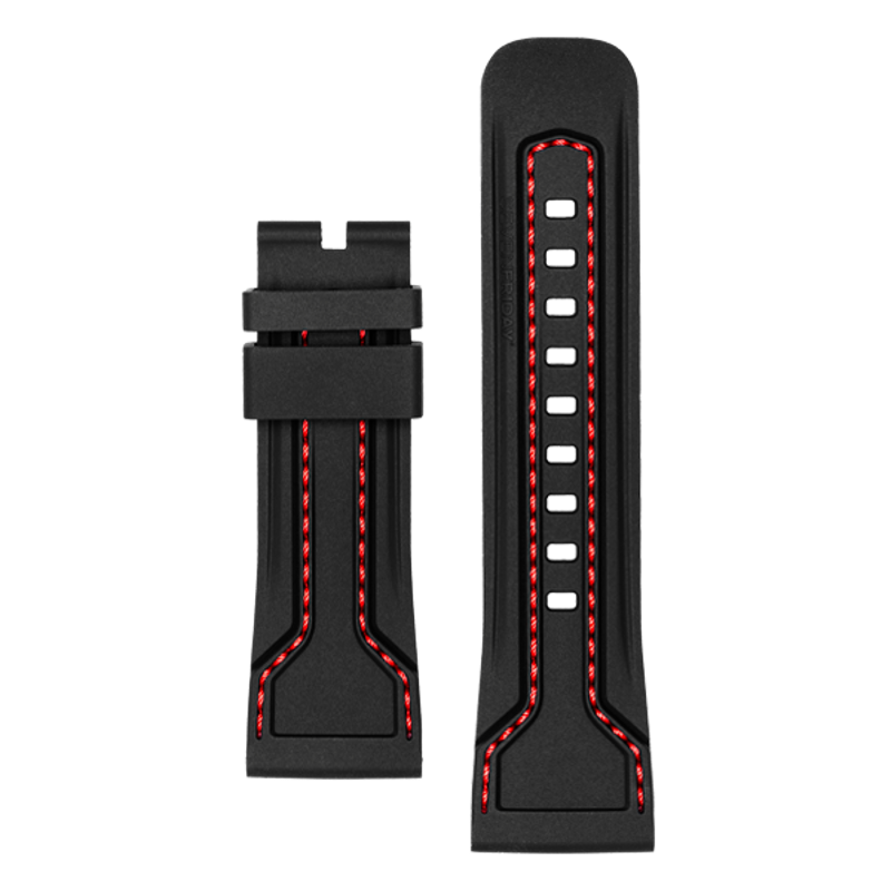 STRAP, Silicone, Black with Red stitching