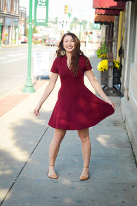 Gilli Red Dress w/ Ruffled Neck