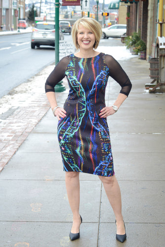 Joseph Ribkoff Black Dress with Multicolored Designs