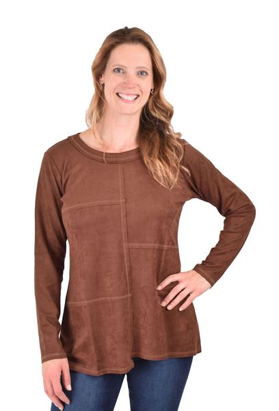 Ethyl Suede Knit Pullover Chocolate