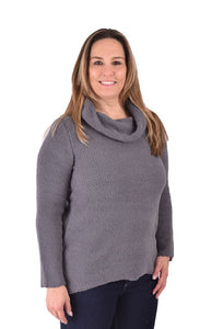 Ethyl Fuzzy Pull Over With Cowl Neck