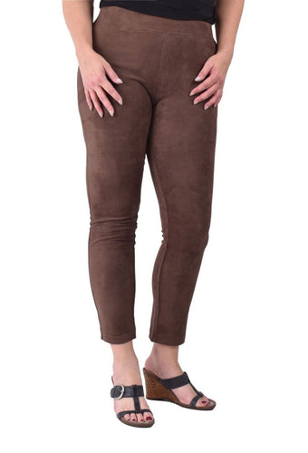 Ethyl Poly Suede Leggings in Brown