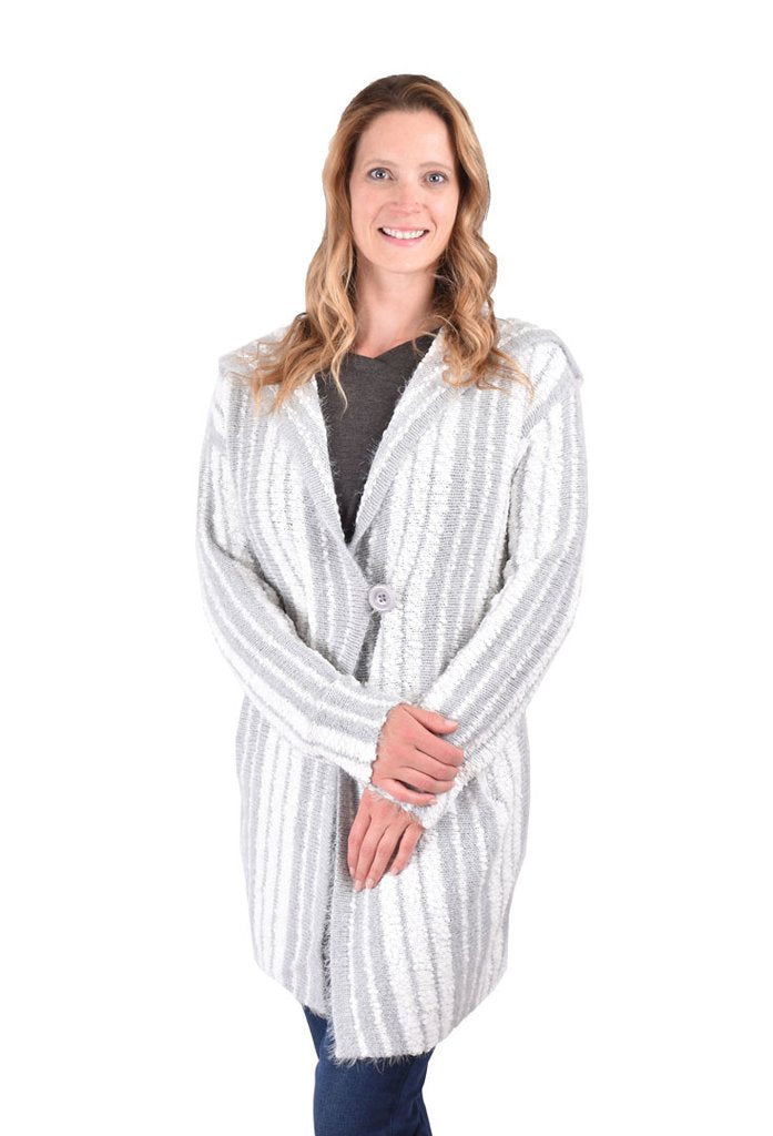 Ethyl Long Fuzzy Cardigan Gray and White