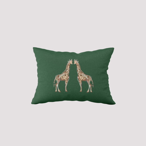 Giraffes on Grass Lumbar Pillow