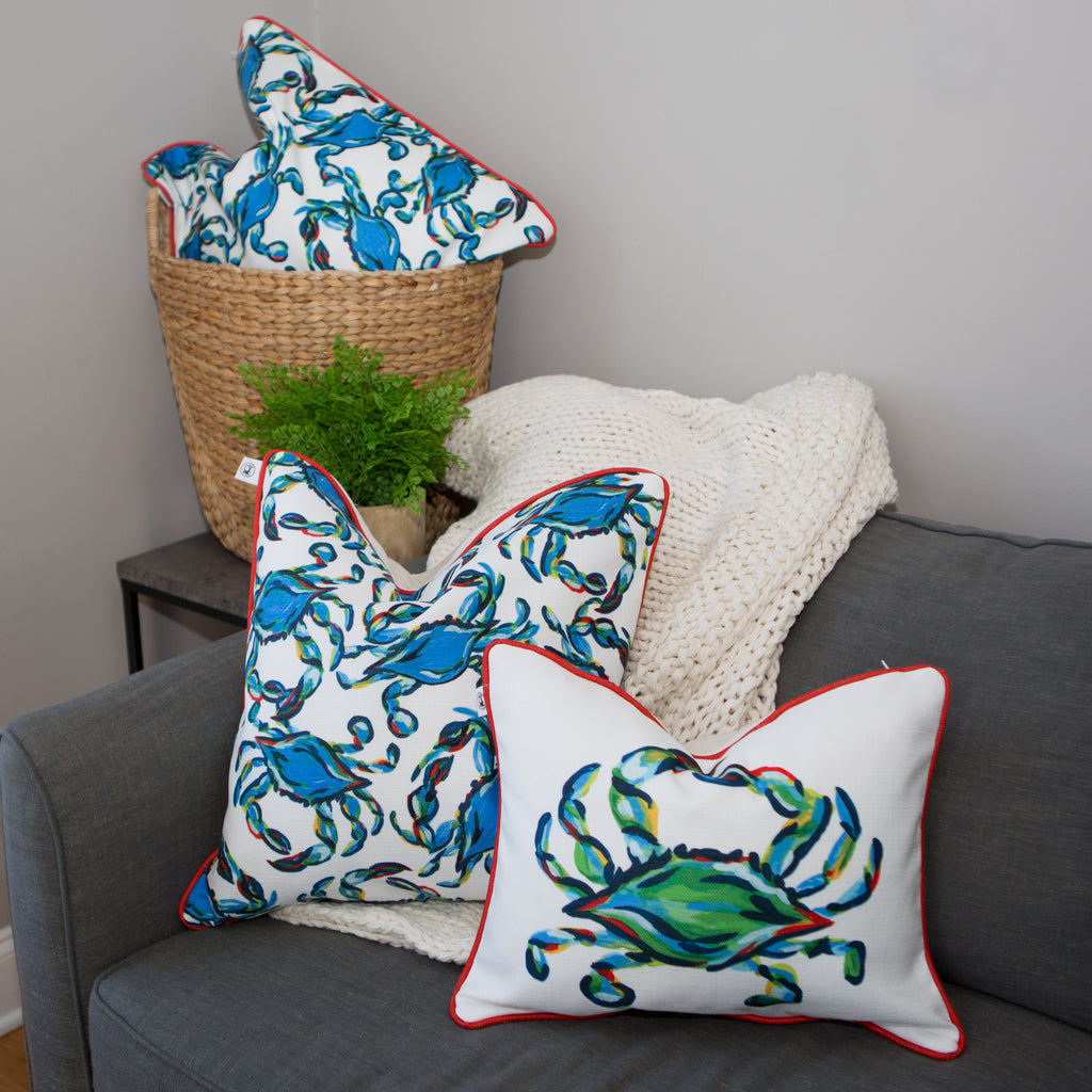 Crab Craze, Shades of Blues Pillow