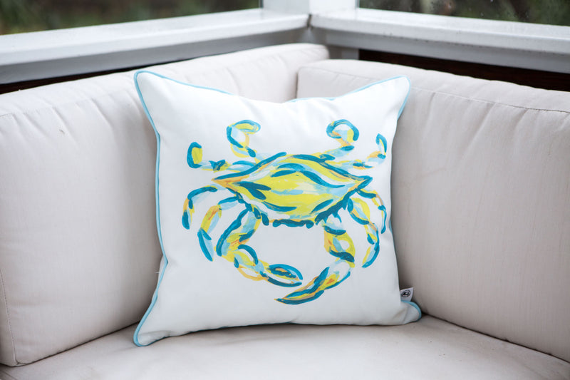 Neon & Carolina Blue King Crab Pillow