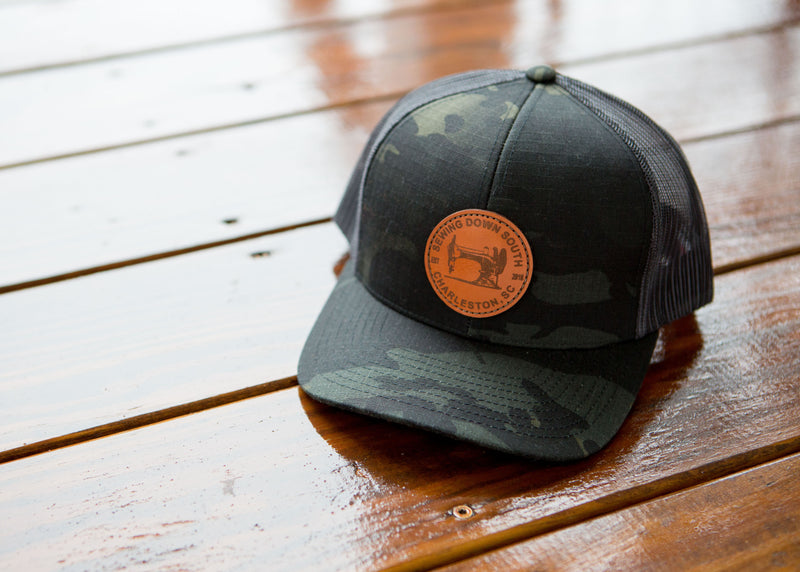 *ALL NEW* Sewing Down South Leather Patch Trucker, Darkest Camo