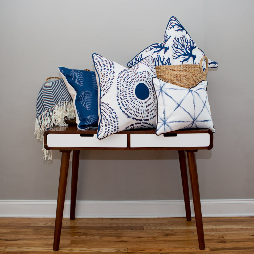 SDS x Thomasville Collection: Navy Grid Lumbar Pillow