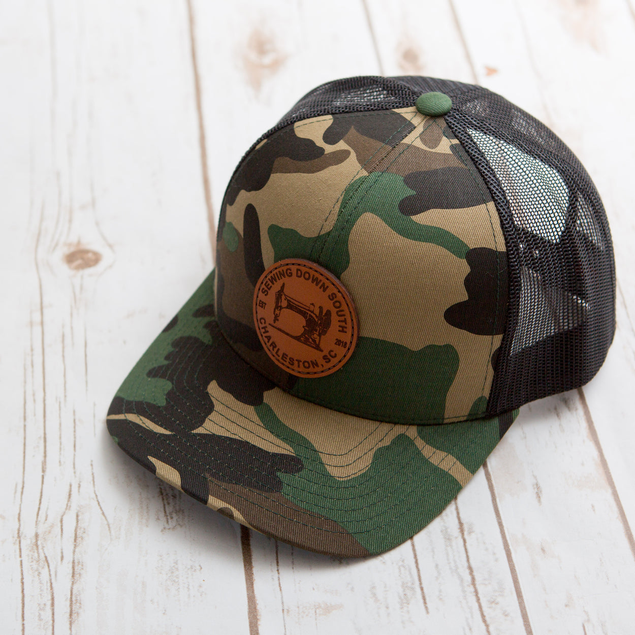 Sewing Down South Leather Patch Trucker, Camo