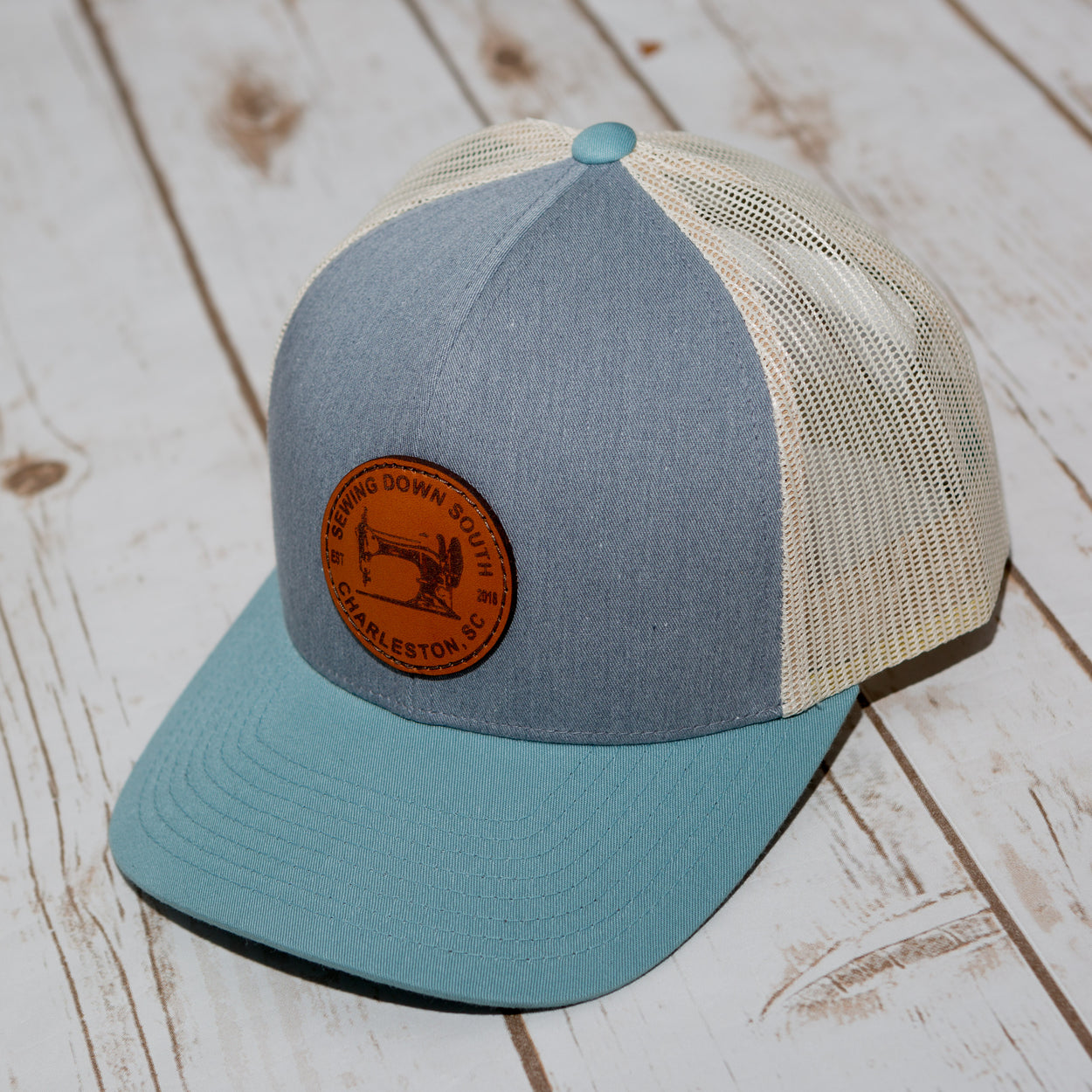 Sewing Down South Leather Patch Trucker, Grey
