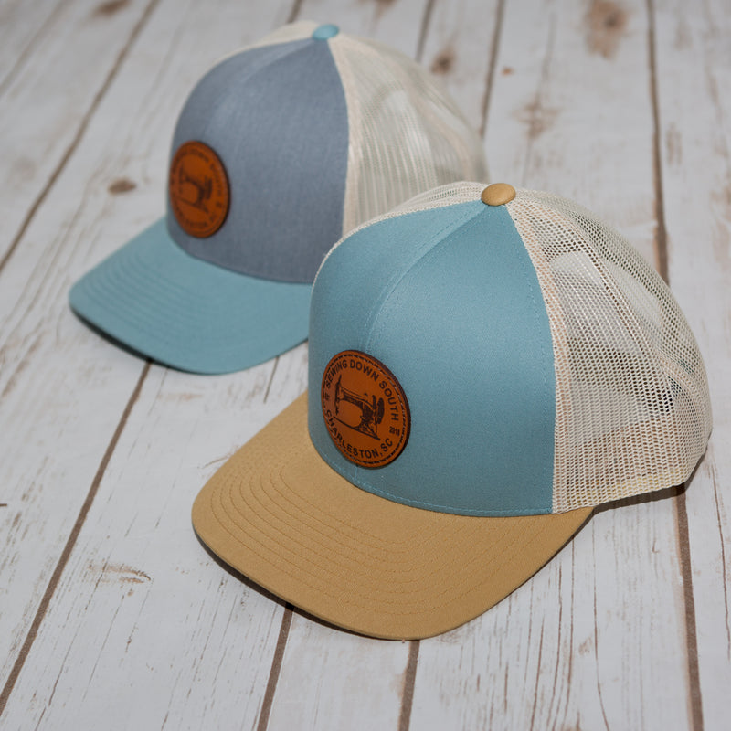 Sewing Down South Leather Patch Trucker, Smoke Blue
