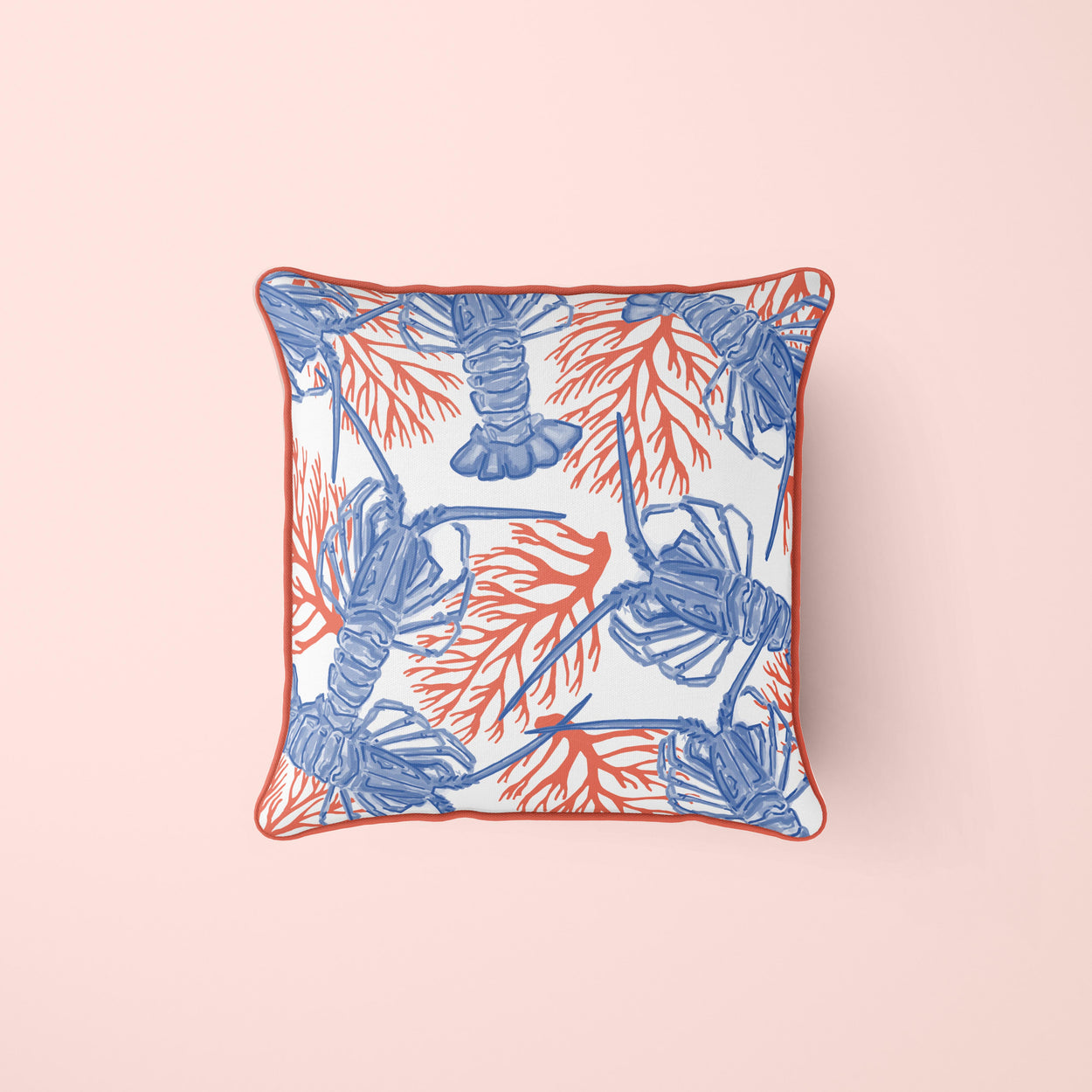 Bahamian Lobster & Coral Pillow Cover