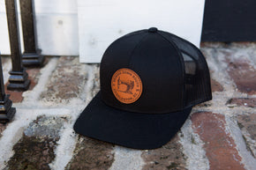 Sewing Down South Leather Patch Trucker, Black on Black