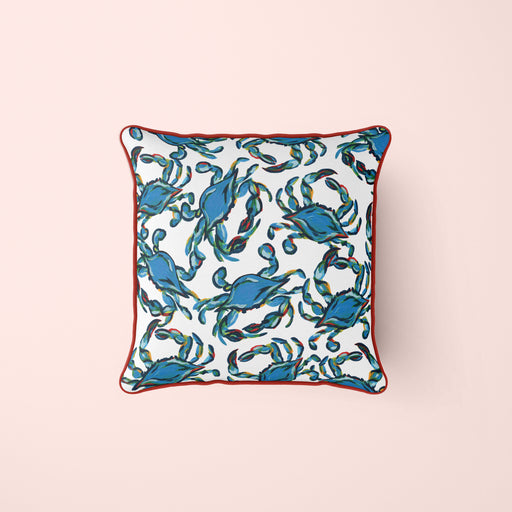 Crab Craze, Shades of Blues Pillow Cover