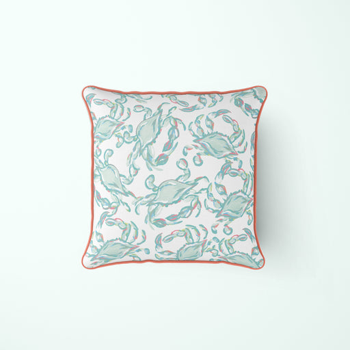 Pastel Crab Craze Pillow, with Coral
