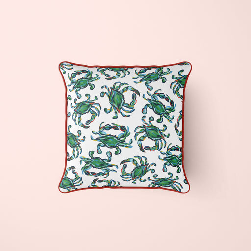 Crab Craze, Groups of Green Pillow Cover