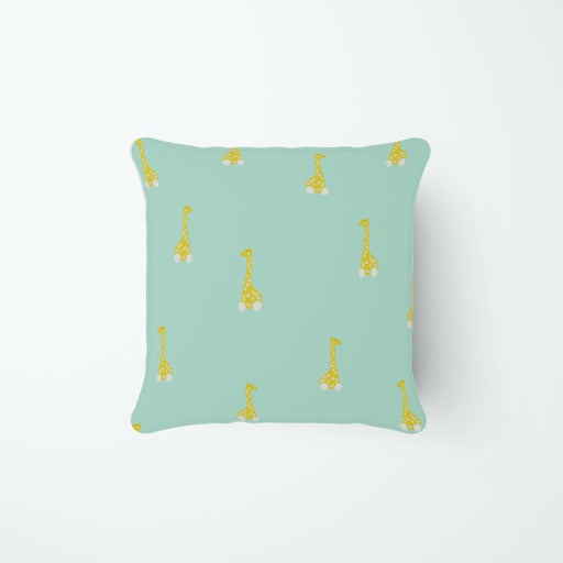 Giraffes on Wheels Pillow, in Minty Green