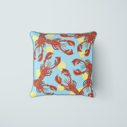 Lobsters & Lemons in Carolina Blue Pillow Cover