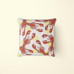 Lobsters & Lemons Natural Pattern Pillow