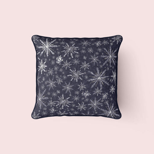 Snowflakes Pillow, Navy on Navy