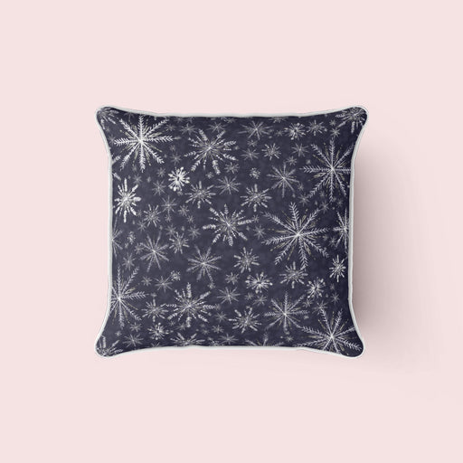 Snowflakes Pillow, Navy and White