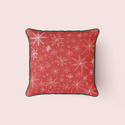 Snowflakes Pillow, Red and Green
