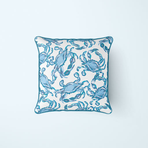 Crab Craze Turquoise Pillow