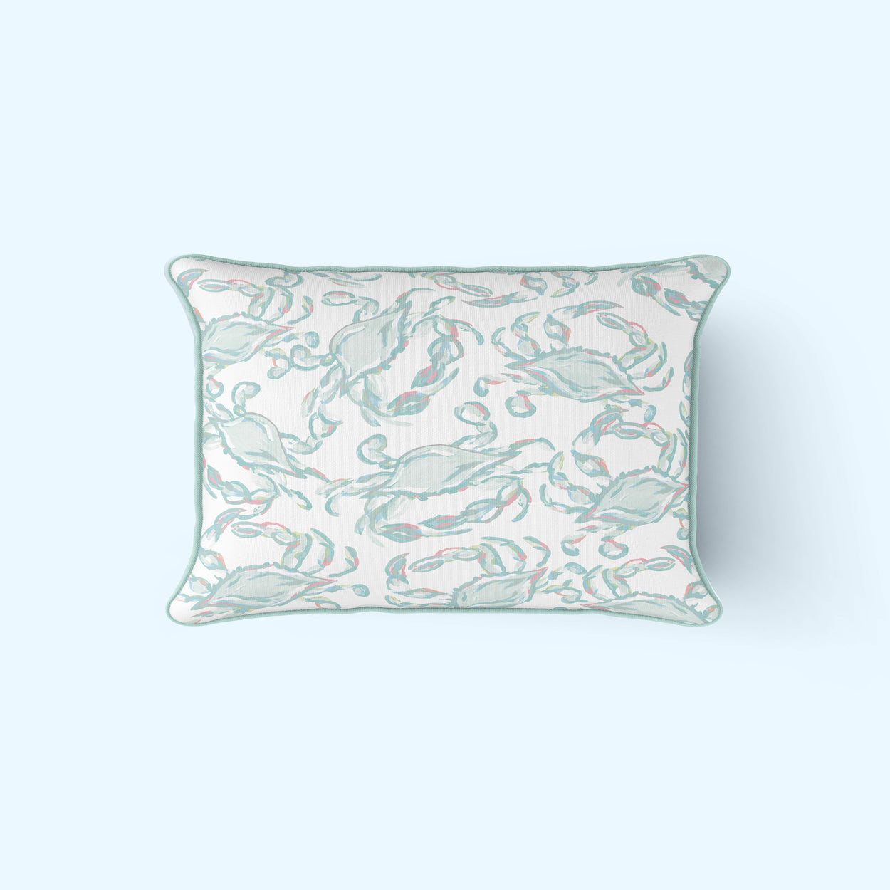 Pastel Crab Craze Lumbar Pillow