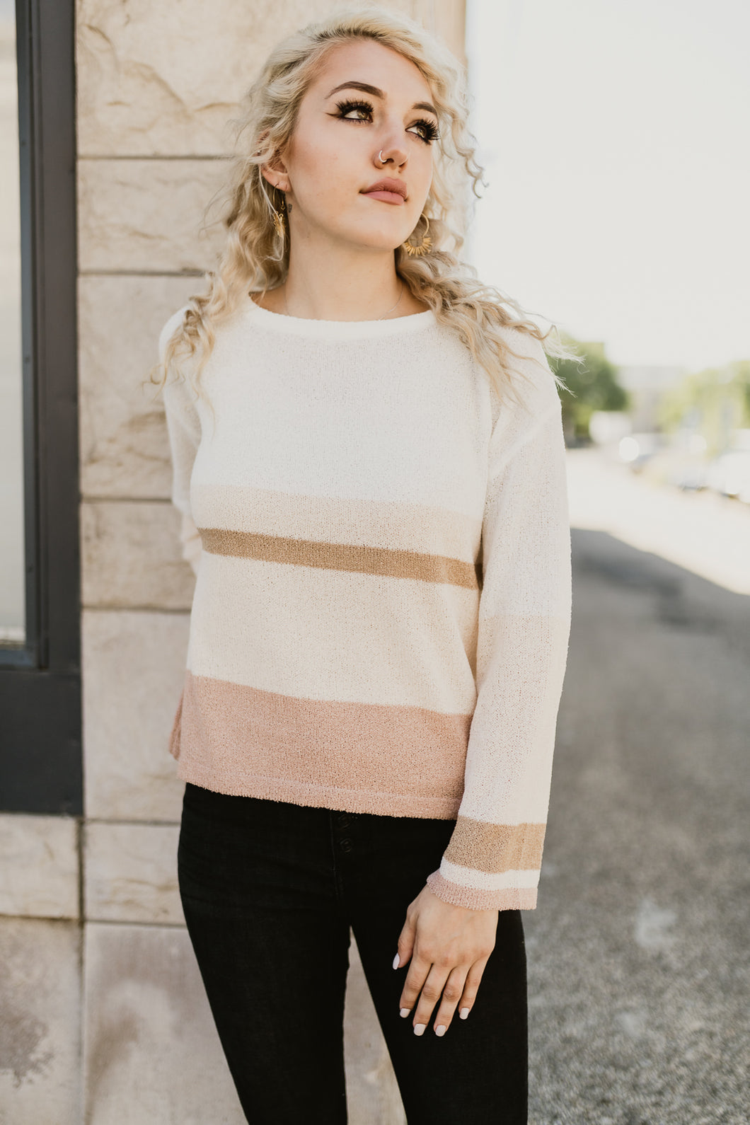 Rose Color Block Sweater