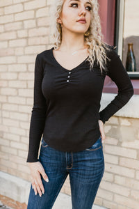 Lainee Raw Edge V-Neck