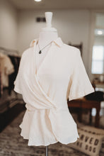 Load image into Gallery viewer, Ivory Woven Surplice Top