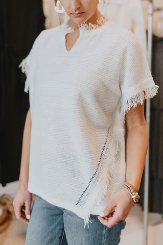 Fringe Hem Shortie Sweater