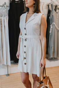 Belted Button Linen Dress