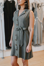 Load image into Gallery viewer, Belted Button Linen Dress