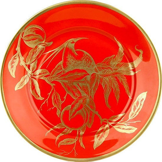 Weimar Porzellan Passion Accent Plates in Iron Red and Gold