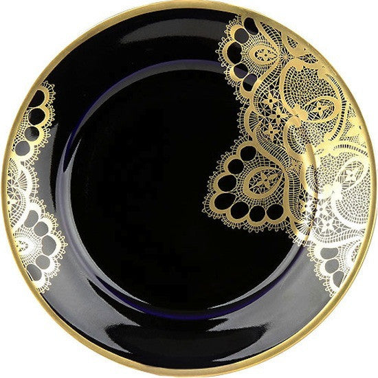 Weimar Porzellan Passion Accent Plates in Cobalt and Gold